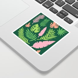 Green and Pink Tropical Leaves Sticker