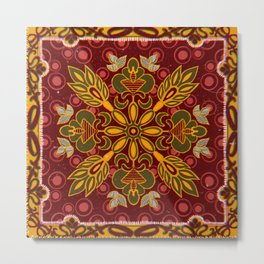 Traditional Russian floral ornament pattern Metal Print