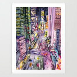 Locomotion, hand painted watercolor print of New York's Time Square at Nights Art Print