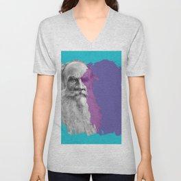 Leo Tolstoy portrait blue and purple Unisex V-Neck