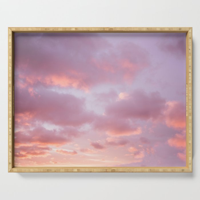 Unicorn Sunset Peach Skyscape Photography Serving Tray