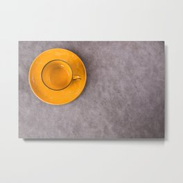 Empty orange tableware and dishware settings and serving on the gray background, plate and cup Metal Print