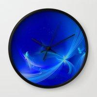 fairies Wall Clocks featuring Fairies winter by Enri-Art