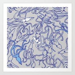 Squids of the inky ocean Art Print