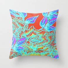 Peony Blooms and Leaves - red, yellow, purple, blue Throw Pillow
