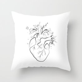 Human heart with flowers Throw Pillow