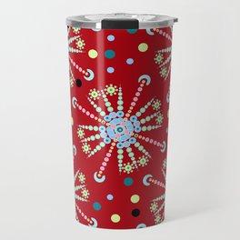 mandala pattern on red background Travel Mug
