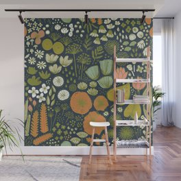 Botanical Sketchbook M+M Navy by Friztin Wall Mural