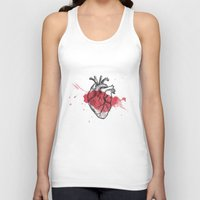 anatomical heart Tank Tops featuring Anatomical heart - Art is Heart  by AdaLovesTheRain