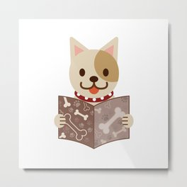 Cute dog with a catalog of bone illustration Metal Print