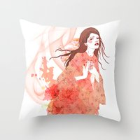 flora Throw Pillows featuring Flora by Anne Cresci