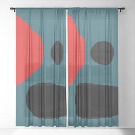 Minimal Red Black Abstract Art Sheer Curtain