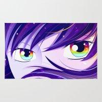 manga Area & Throw Rugs featuring Rainbow Manga Eyes by Sandra Höfer