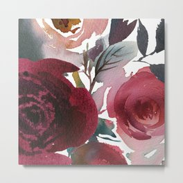 Rojo Floral Metal Print