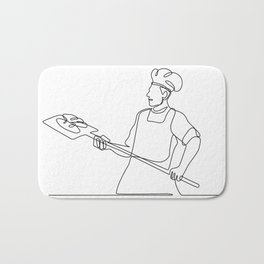Baker With Oven Peel Continuous Line Bath Mat