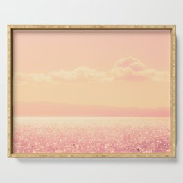 Dreamy Champagne Pink Sparkling Ocean Serving Tray