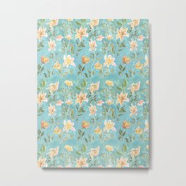 Mint Botanical Pattern Metal Print