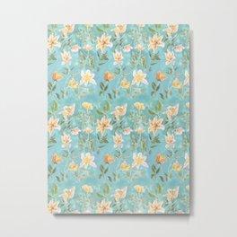 Mint Botanical Pattern Metal Print