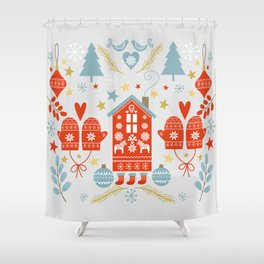 Laplander Winter Holiday Shower Curtain