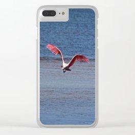 Roseate Spoonbill in Flight IV Clear iPhone Case