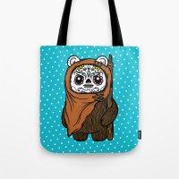 ewok Tote Bags featuring Sugar Skull Ewok by Team Rapscallion