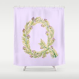 Leafy Letter Q Shower Curtain