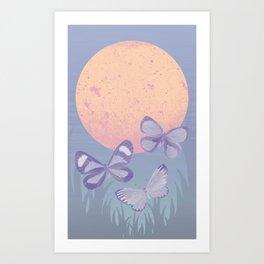 Moonrise Meadow Butterflies Art Print