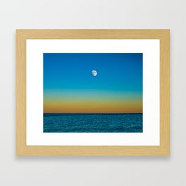 Moon Rising Over Chicago's North Shore Framed Art Print