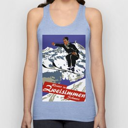 Winter in Zweisimmen Schweiz Unisex Tank Top