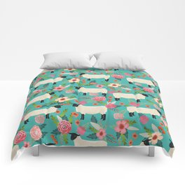 Suffolk Sheep farm floral cute animals sheep lover nature florals pattern homestead gifts Comforters