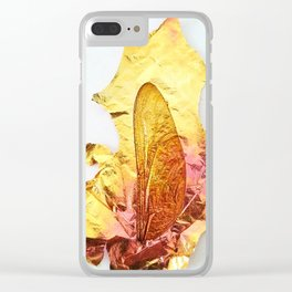 Dragonfly Wing with Iridescent Brass Clear iPhone Case