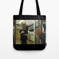 louis ck Tote Bags featuring Louis CK Caricature by Richtoon