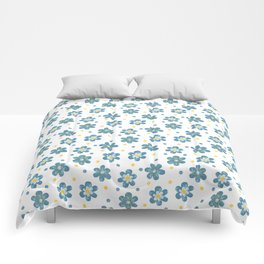 Doodle Button Floral Blue Yellow Comforters