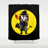 platypus Shower Curtains featuring Who watches the platypus by unknowndesigner