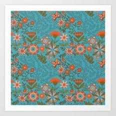 Fantasy Floral in Blue and Orange Art Print