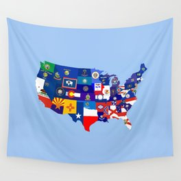 usa states flag map Wall Tapestry