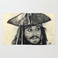 jack sparrow Area & Throw Rugs featuring Captain Jack Sparrow ~ Johnny Depp Traditional Portrait Print by bianca.ferrando