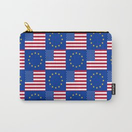Mix of flag: USA and UE Carry-All Pouch
