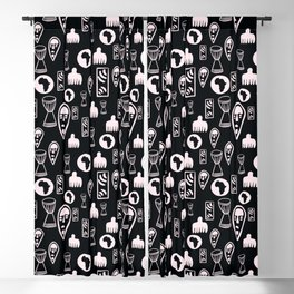 Black and White Tribal pattern. . Blackout Curtain