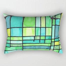 Green Frank Lloyd Wrightish Stained Glass Rectangular Pillow