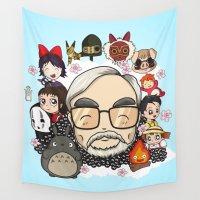 miyazaki Wall Tapestries featuring Ghibli, Hayao Miyazaki and friends by KickPunch