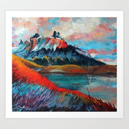 Valle Francesa Mountains in Southern Chile in Full-Blown Impressionism Art Print