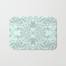 Dotted Floral Scroll in Mint and Grey Bath Mat