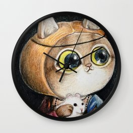 Lady cat with an Ermine Wall Clock