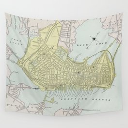 Vintage Map of Portland Maine (1889) Wall Tapestry