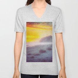 California summer beach sunset with beautiful cloudy sky Unisex V-Neck
