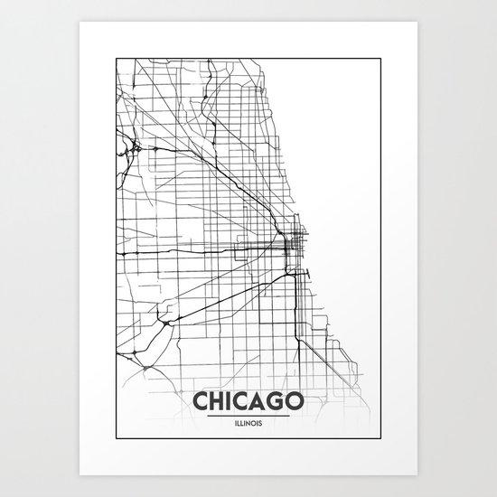 Minimal City Maps - Map Of Chicago, Illinois, United States by valsymot