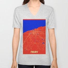 Calais - France Retro City Map Unisex V-Neck