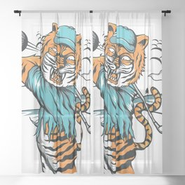 Tiger golfer WITH cap Sheer Curtain