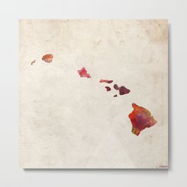 Hawaii map warm colors Metal Print